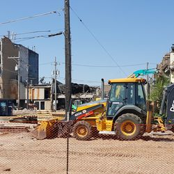 Closeup of buildings partly demolished -