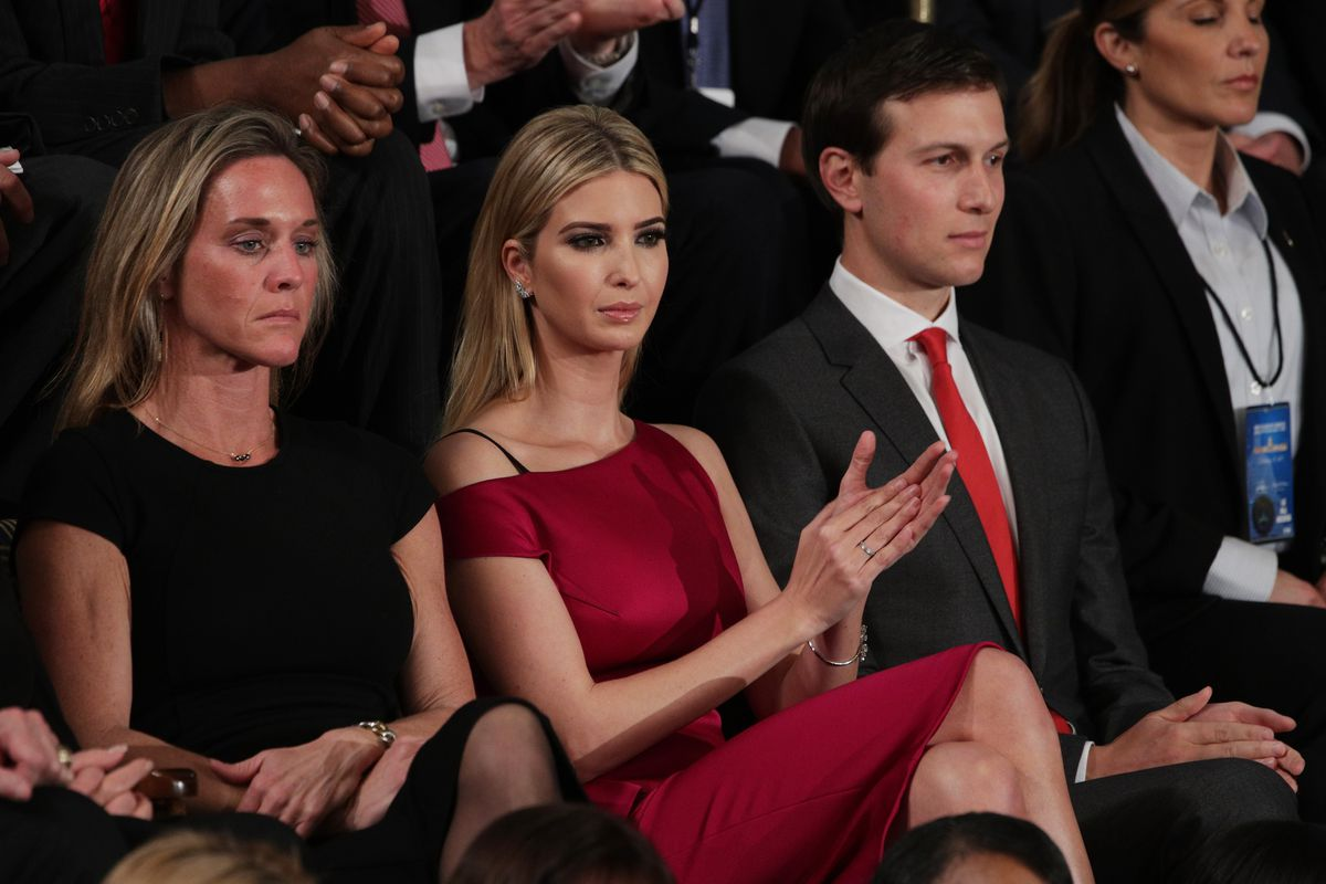 Ivanka Trump looks on as her father, President Trump, addresses a joint session of Congress Tuesday.