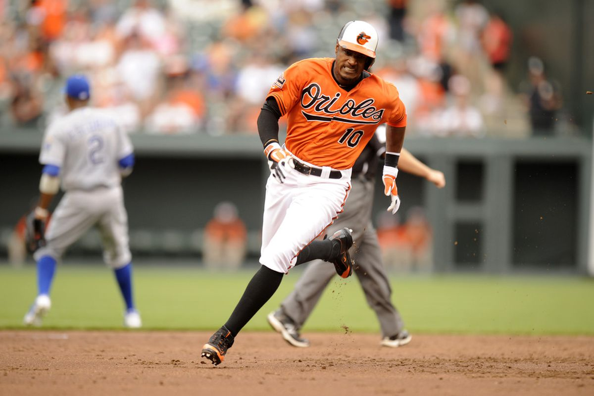 The Orioles are set to announce that they have signed Adam Jones to the largest contract in team history, surpassing 6 years/$72 million to Miguel Tejada.   (Photo by Mitchell Layton/Getty Images)