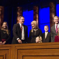 Clark G. Gilbert and his family on the podium after todays devotional. Taken by Erik Hill, Tuesday, Jan. 27, 2015.