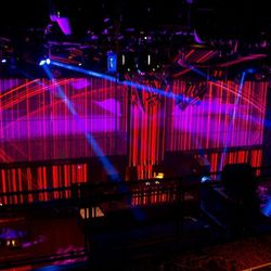 The giant LED screens behind the deejay booth at Light Nightclub.