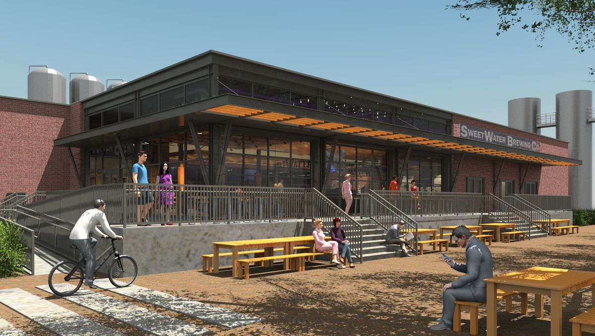 Exterior rendering of the new taproom