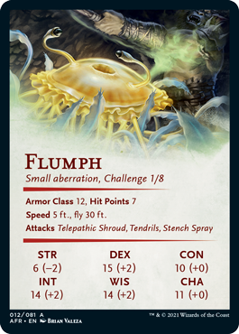 The reverse of an art card, showing a selection of items from the creature's stat block.