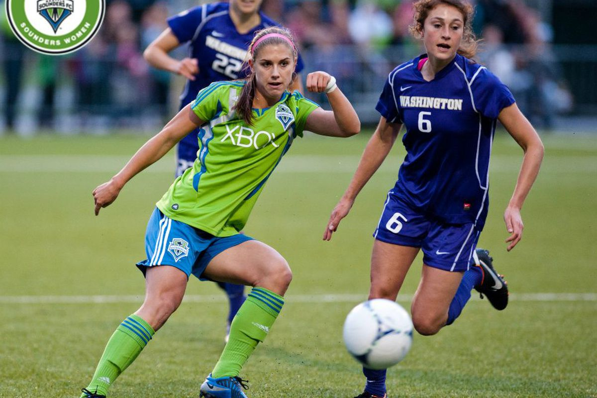 Alex Morgan will take off the Green and Blue for Red, White and Blue when the US Women's National Team starts play today. Photo Courtesy Jane G and Sounders Women.