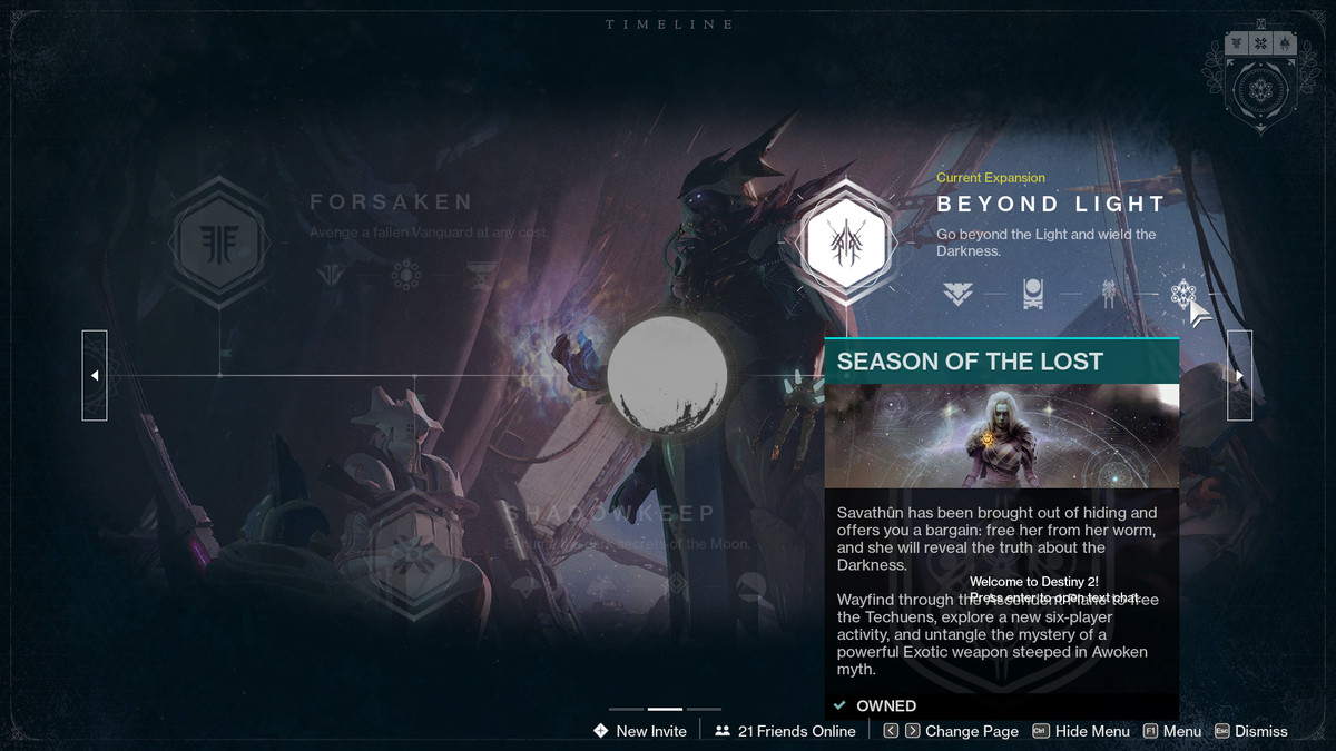 The new Timeline feature in Destiny 2