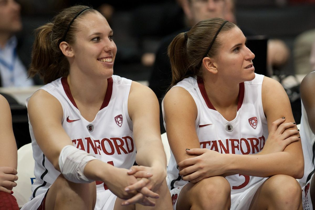<em>Kayla Pedersen & Jeanette Pohlen Enjoy One of Many Great Moments They Shared Over 4 Years(Photo via Stanford Athletics)</em>