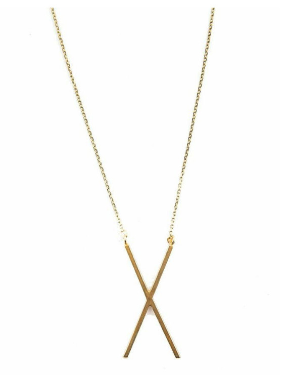 Gold necklace with X charm