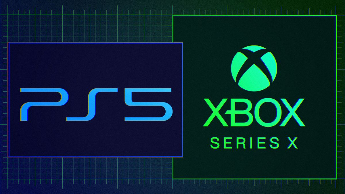 Sony PS5 and Microsoft Xbox Series X logos in their own rectangles on a graduated background