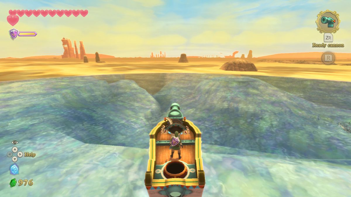 The time boat in Skyward Sword out on the water