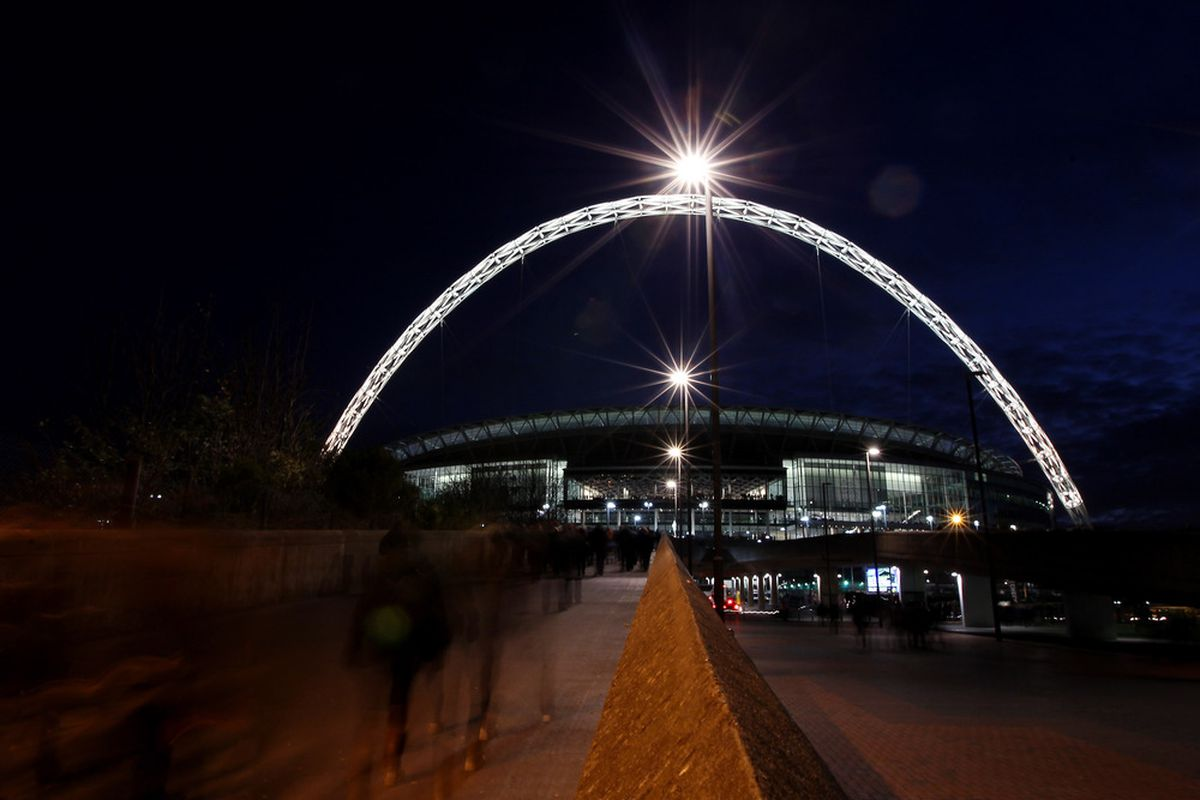 LONDON, ENGLAND - DECEMBER 10:  A general view as fans make their way to Wembley Stadium.