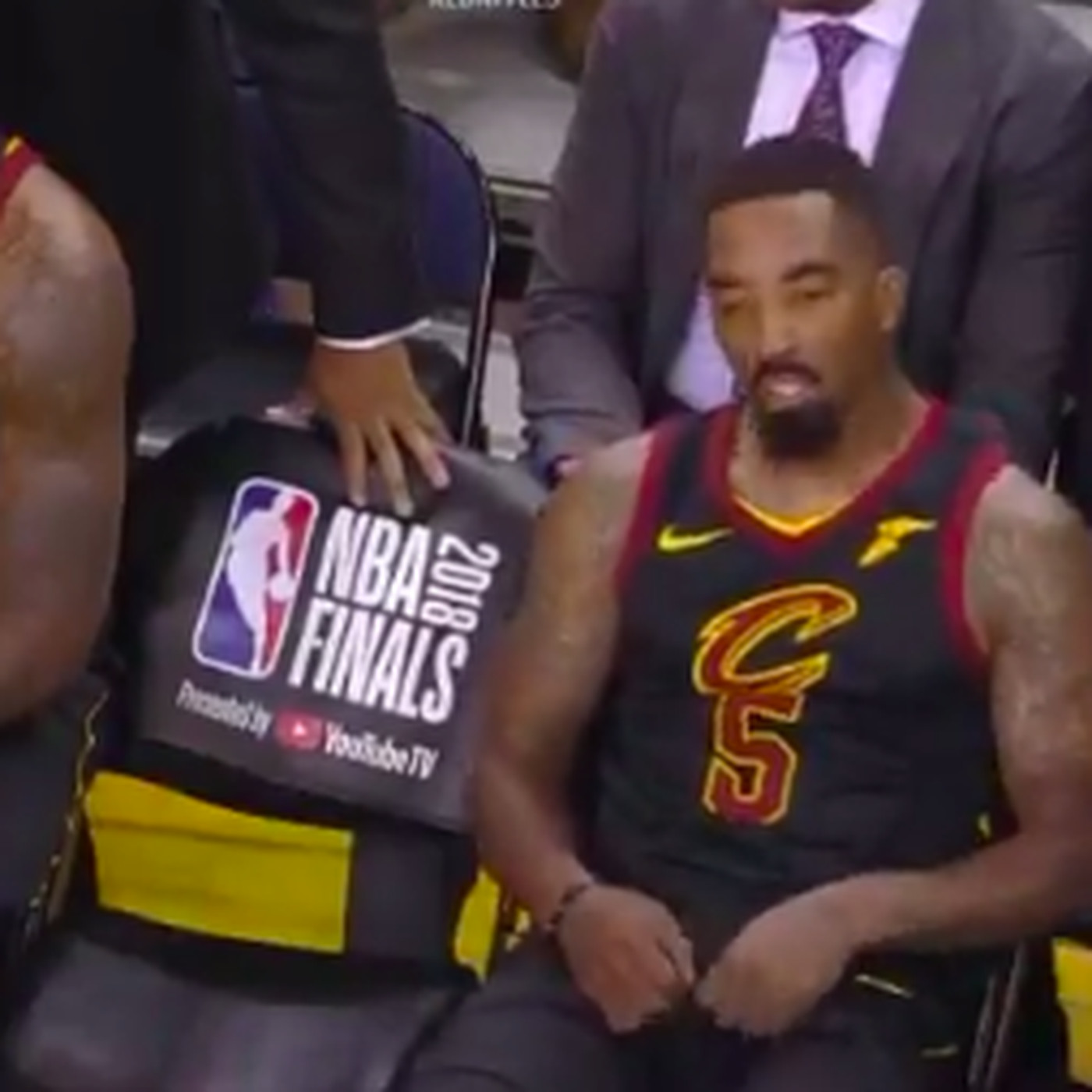 a12cddcdb747 J.R. Smith on the Cavs  bench after his Game 1 screwup is the saddest video  you ll see this year