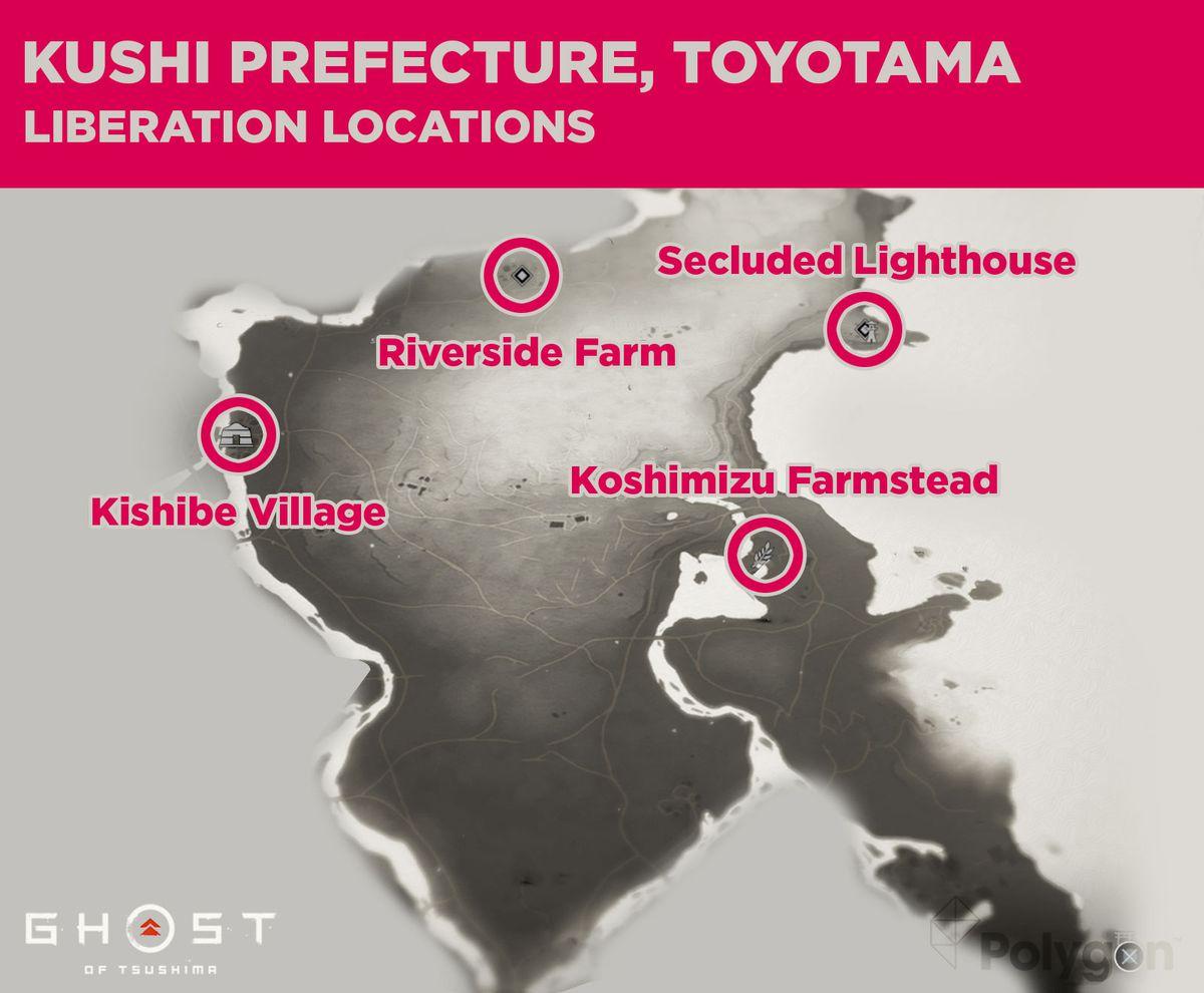 Kushi prefecture liberation locations including: Koshimizu Farmstead, Kishibe Village, Riverside Farm, and Secluded Lighthouse.