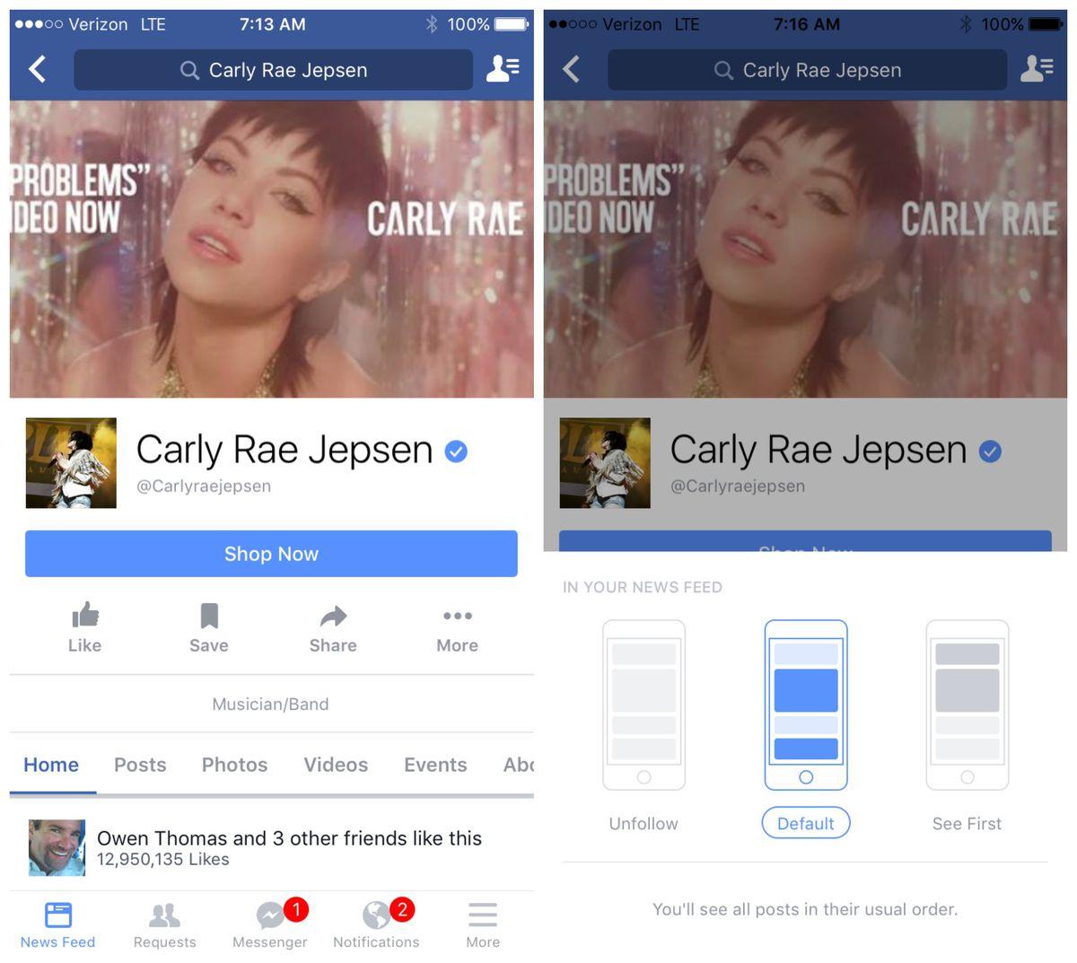 A Facebook screen for Carly Rae Jepsen