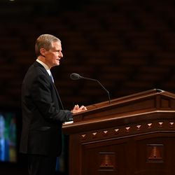 Elder David A. Bednar, a member of the Quorum of the Twelve Apostles, speaks during the Saturday afternoon session of the 191st Semiannual General Conference of The Church of Jesus Christ of Latter-day Saints at the Conference Center in Salt Lake City on Oct. 2, 2021.