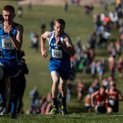 Rich's John Scott leads the pack on his way to placing fourth in the 1A boys cross country championship at Sugar House Park in Salt Lake City on Wednesday, Oct. 23, 2019.