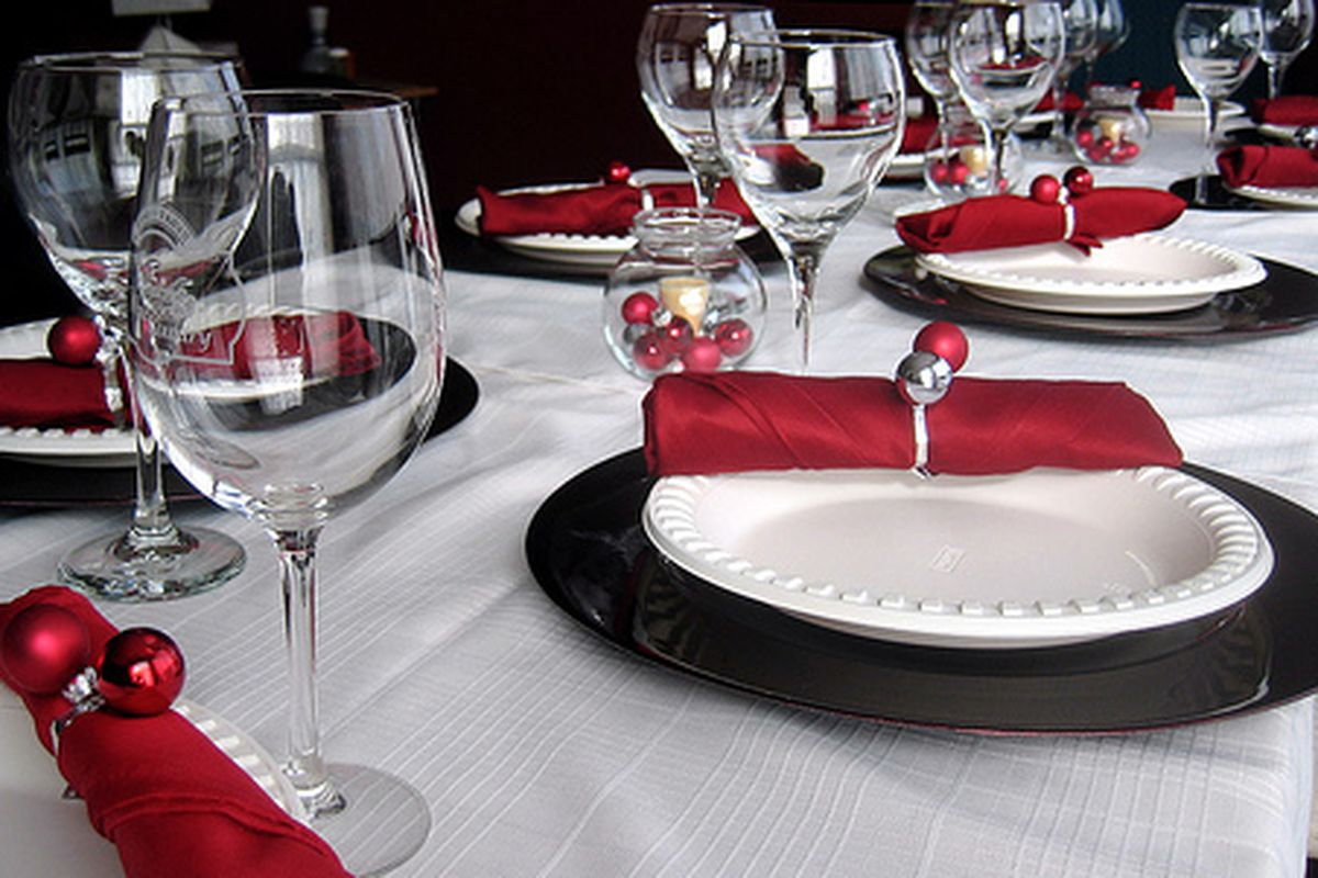 A festive holiday table.