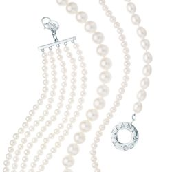 """Tiffany pearl bracelets with sterling silver (from left): $750, $500, $275, $525 at <a href=""""http://www.tiffany.com/?siteid=1&&"""">Tiffany & Co.</a>"""