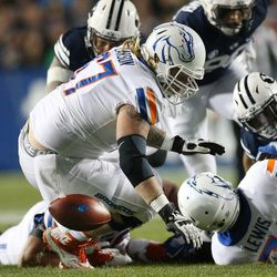 Boise State fumbles the ball in Provo on Friday, Oct. 6, 2017.