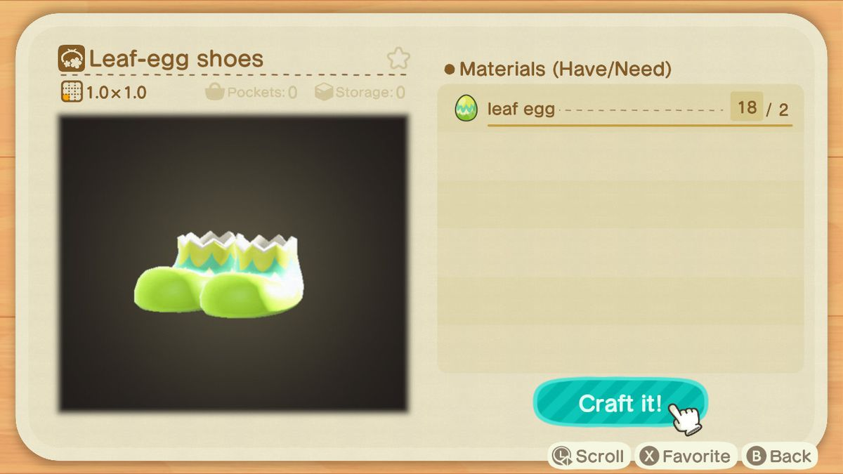 A crafting screen in Animal Crossing showing how to make a Leaf-Egg Shoes