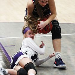 Herriman and Riverton compete in a girls basketball game in Riverton on Thursday, Jan. 28, 2021.