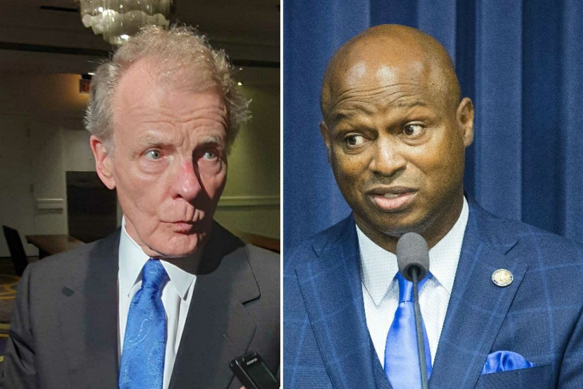 """Then House Speaker Mike Madigan, left, in July; State Rep. Emanuel """"Chris"""" Welch, D-Hillside, right, in September."""