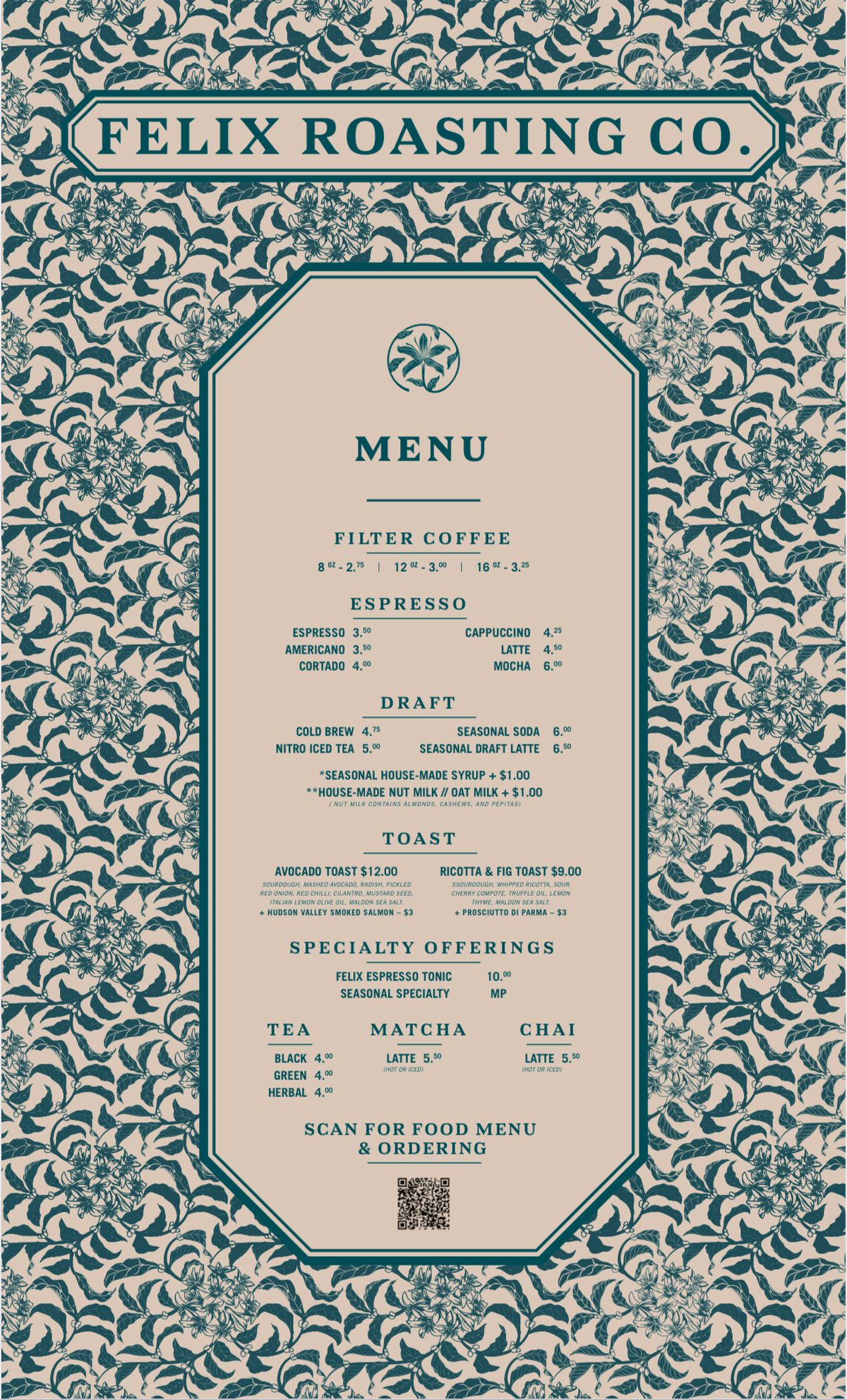 A detailed menu of a coffee shop with several drinks and small bites listed