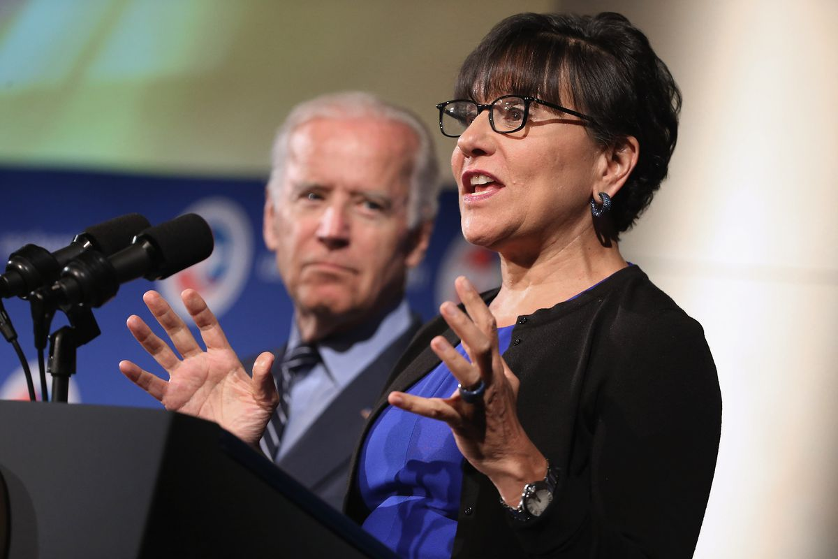 Commerce Secretary Penny Pritzker (R) introduces Vice President Joe Biden during a US-Ukraine business forum at the US Chamber of Commerce July 13, 2015, in Washington, DC.