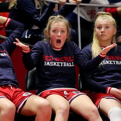 Highland and Springville Girls play in the 5A State Basketball Championship in the Huntsman Center at the University of Utah in Salt Lake City on Saturday, Feb. 29, 2020. Highland won 46-34.
