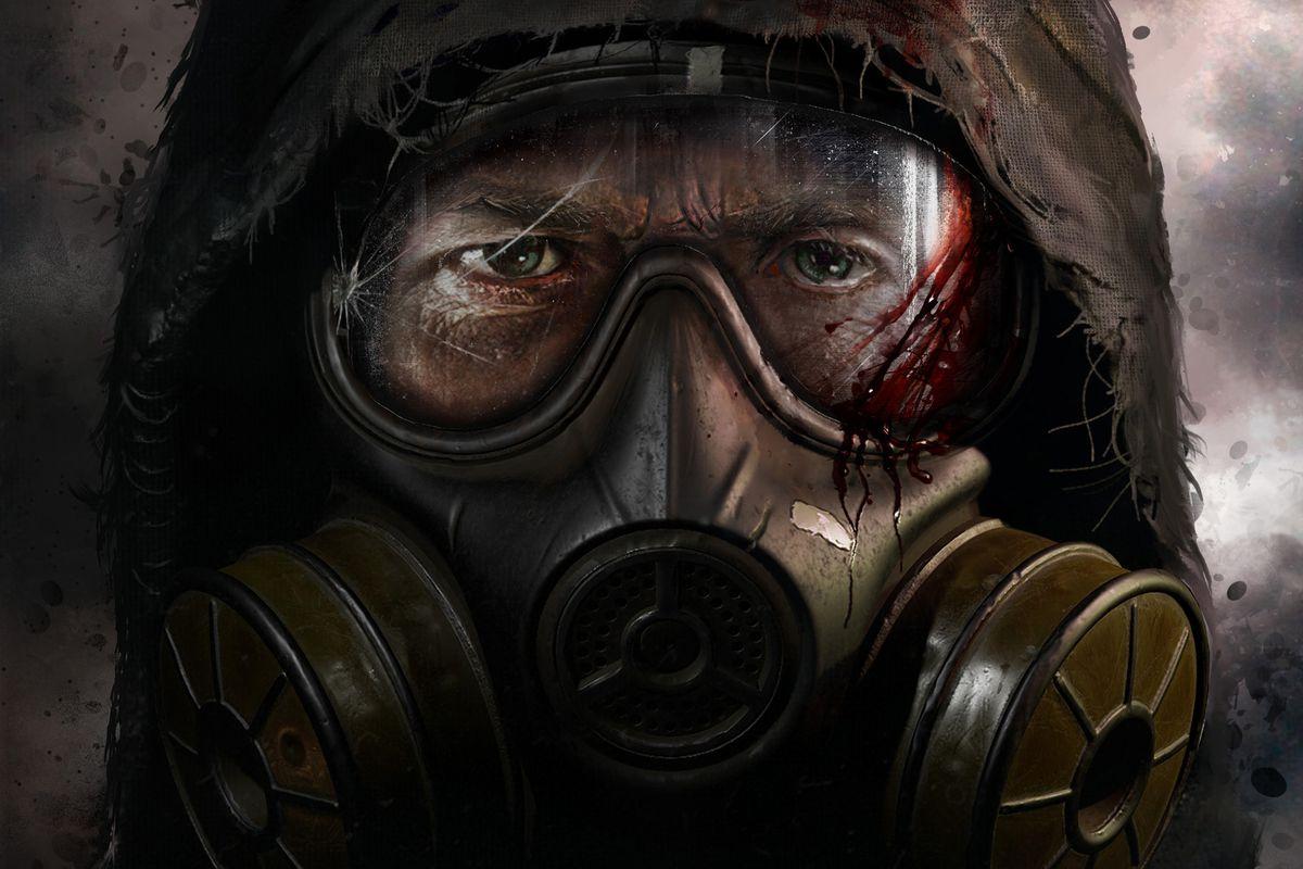 The masked face of a STALKER beneath a tattered hood. Key art for STALKER 2.