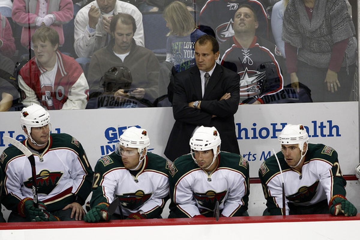 COLUMBUS OH - SEPTEMBER 28:  Minnesota Wild head coach Todd Richards watches as his team takes on the Columbus Blue Jackets during the third period on September 28 2010 at Nationwide Arena in Columbus Ohio.  (Photo by John Grieshop/Getty Images)