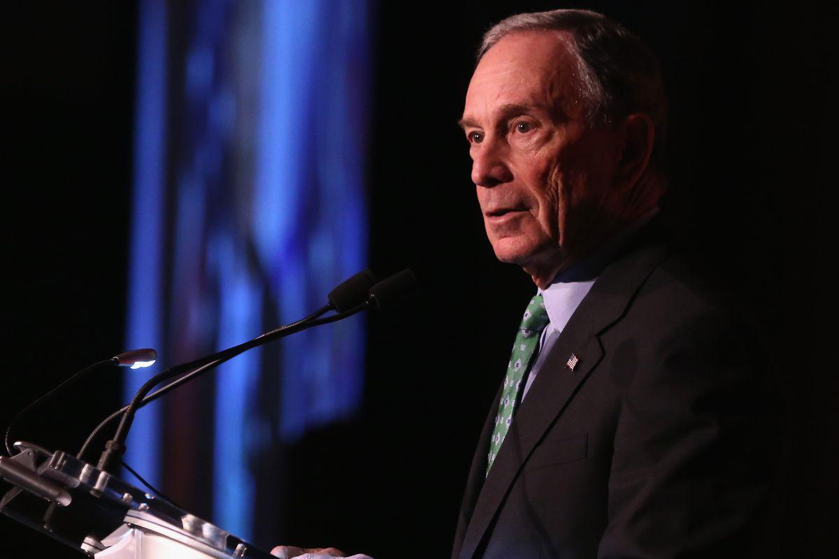 Former mayor of New York City, presenter Michael Bloomberg, speaks on stage during AFMDA Red Star Gala at the Grand Hyatt New York on December 2, 2015, in New York City.