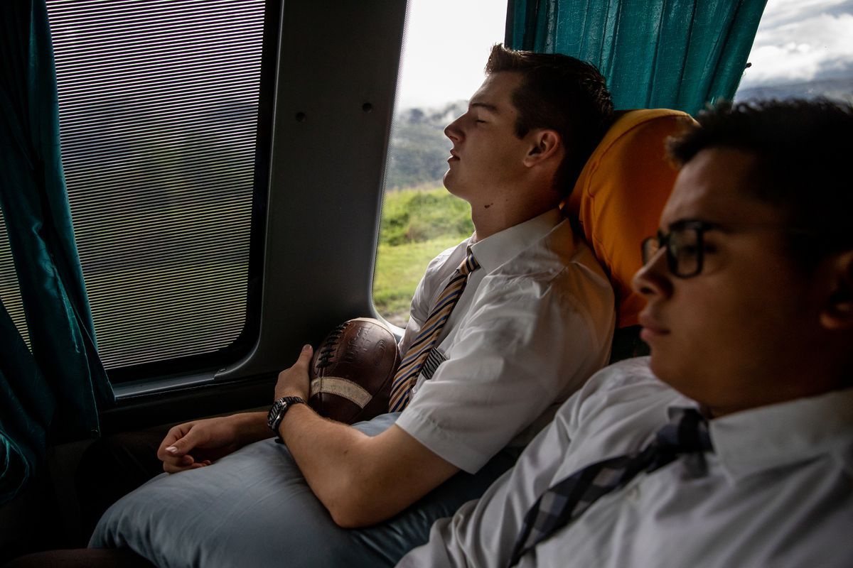 Elders Tanner McKee and Pedro Cabral, missionaries for The Church of Jesus Christ of Latter-day Saints, ride a bus from Paranaguá to Curitiba, Brazil, as McKee transfers to a new area of the mission on Monday, June 3, 2019. While McKee will transfer to a new area with a new companion, Cabral will receive a new companion and travel back to Paranaguá.