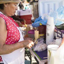 Zenaida Castillo, 60, serves tamales in Rogers Park.   Ashlee Rezin/Sun-Times