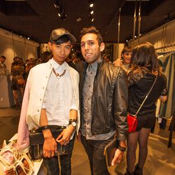 """Another of our favorite LA menswear stars, <a href=""""http://la.racked.com/archives/2013/07/09/las_tommy_lei_is_your_new_favorite_menswear_blogstar.php""""target=""""_blank"""">Tommy Lei</a> with his partner Martin Angula. Tommy is wearing an American Apparel varsit"""
