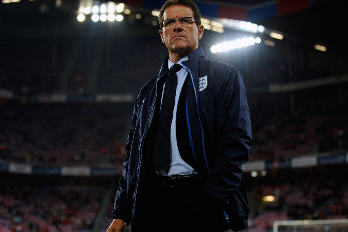 England manager Fabio Capello looks on before the EURO 2012 Qualifier between Switzerland and England at St Jakob Park. Fabio Capello has resigned as the manager of the England football team.  (Photo by Michael Regan/Getty Images)