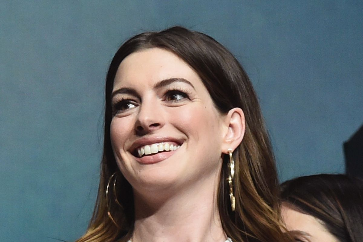 Anne Hathaway onstage at CinemaCon 2018 in April.