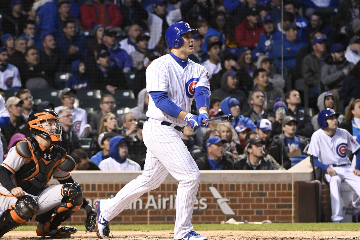 May 24, 2017; Chicago, IL, USA; Chicago Cubs first baseman Anthony Rizzo (44) hits a home run against the San Francisco Giants during the fourth inning at Wrigley Field. Mandatory Credit: David Banks-USA TODAY Sports