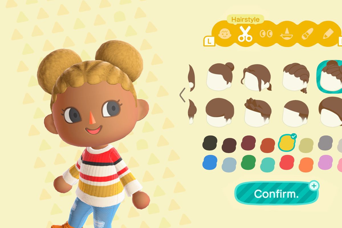 The hairstyle selection screen in Animal Crossing: New Horizons