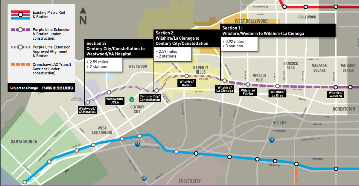 La Subway Map Year Opened.La Metro Purple Line Extension What To Know About The Westside