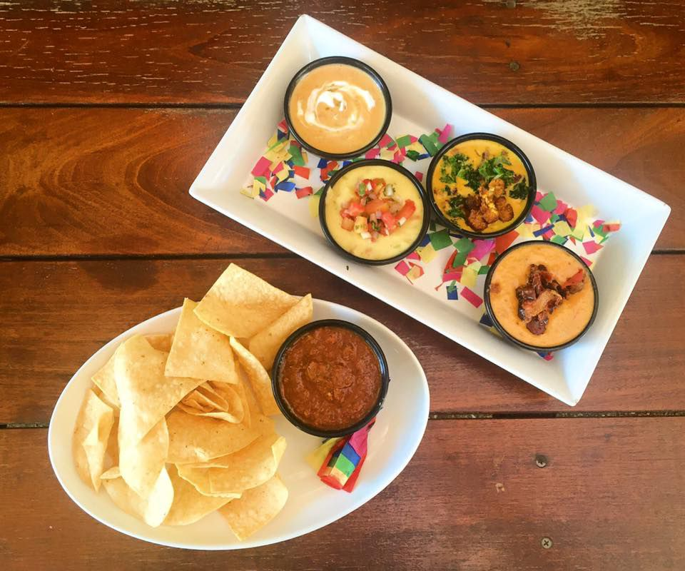 Queso, salsa, and chips from Cenote