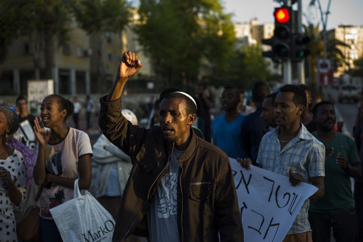 Ethiopian Israelis protest on May 4.