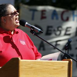 Chicago Teachers Union President Karen Lewis speaks at a teachers rally at Union Park in Chicago, Ill., on Saturday, September 15, 2012.