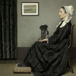 """""""The Tootsie is held aloft by Impressionist artist James McNeil Whistlers' mother in an allegory of his most famous painting of the samename. The elegant curve of the boot echoes the curve of her austere pose incontrast to the angular lines in the"""