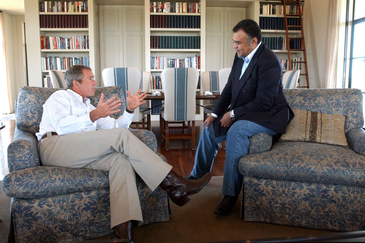 President George W. Bush meets with Saudi Prince Bandar bin Sultan, then the ambassador to the US, in 2002.