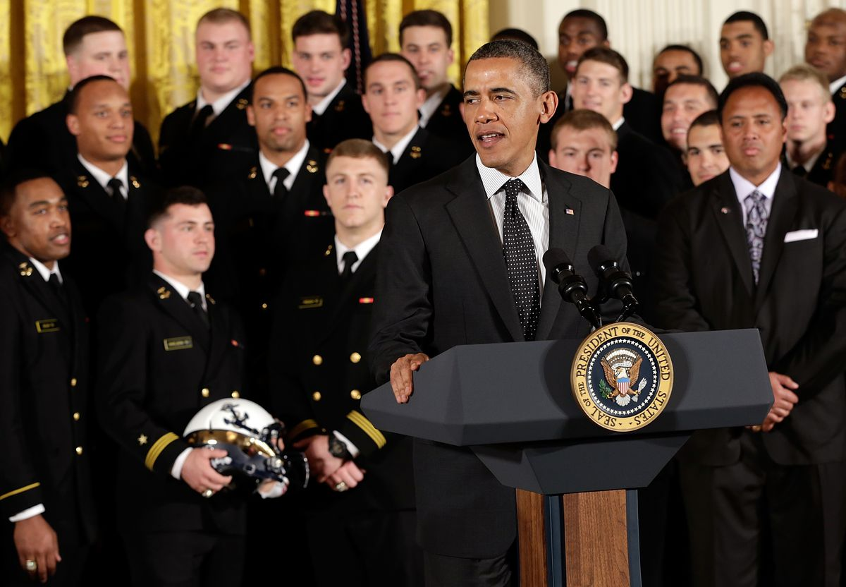 Obama Presents Commander-in-Chief Trophy To US Naval Academy Football Team