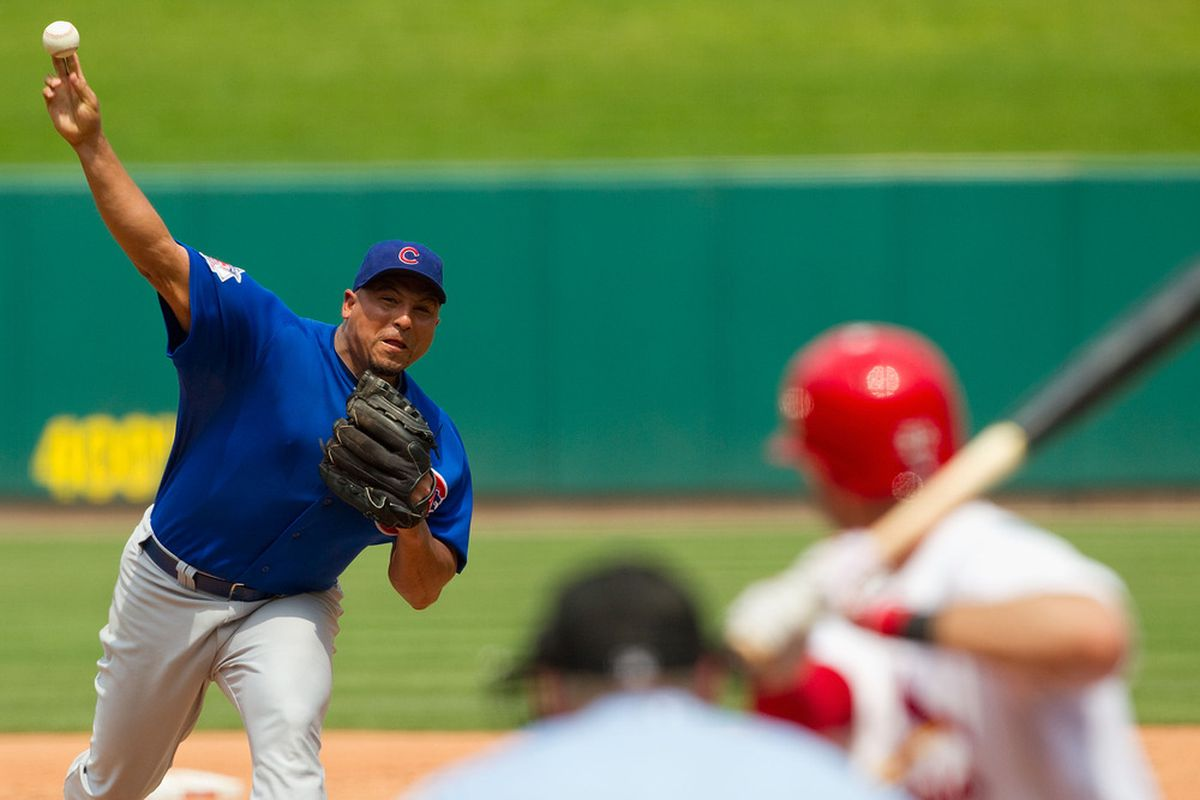 Starter Carlos Zambrano of the Chicago Cubs pitches against the St. Louis Cardinals at Busch Stadium on June 5, 2011 in St. Louis, Missouri.  The Cardinals beat the Cubs 3-2 in 10 innings.  (Photo by Dilip Vishwanat/Getty Images)