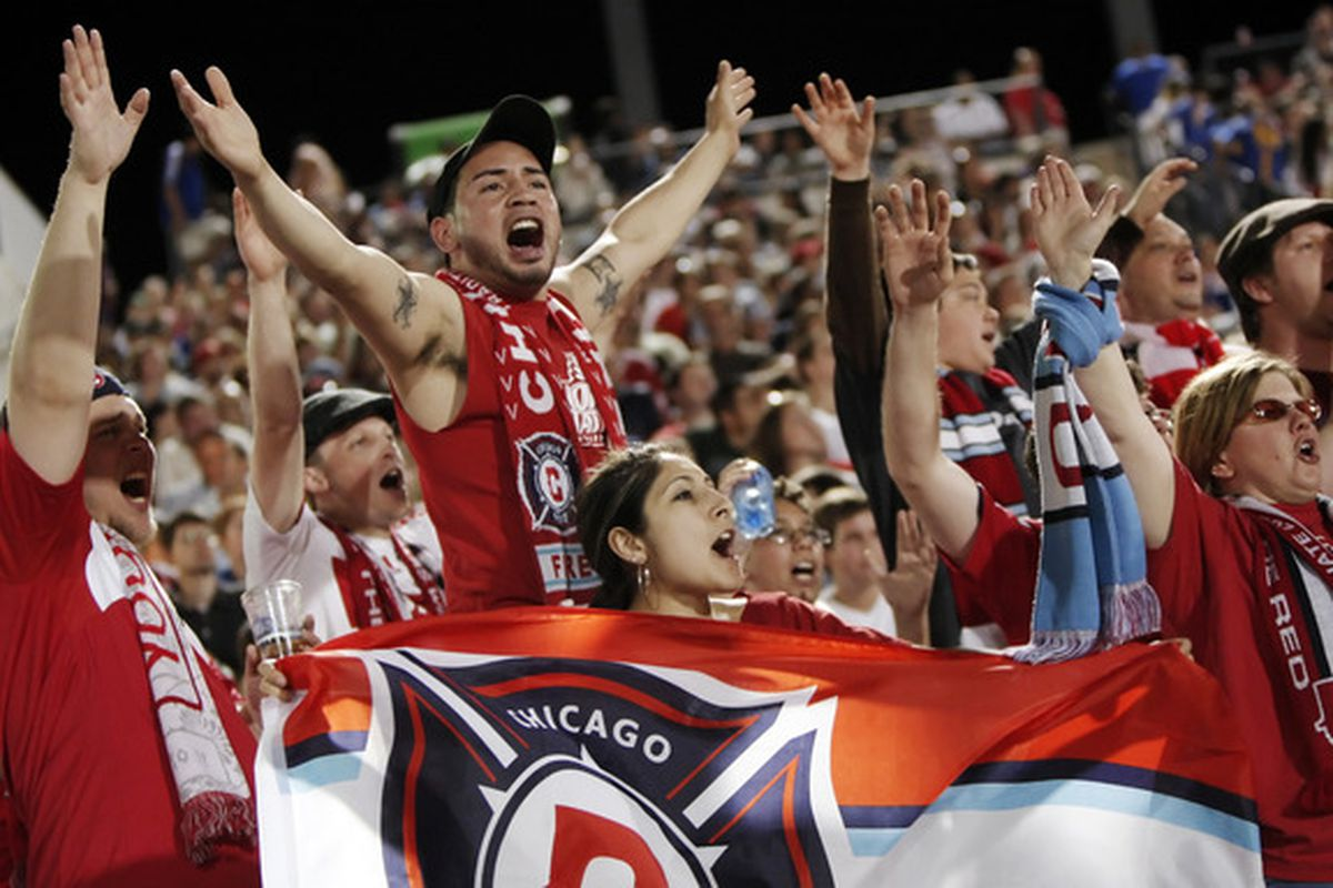 FRISCO, TX - MARCH 19:  Chicago Fire fans cheer on their team in the second half during an MLS game against FC Dallas at Pizza Hut Park on March 19, 2011 in Frisco, Texas. The game ended 1-1. (Photo by Brandon Wade/Getty Images)