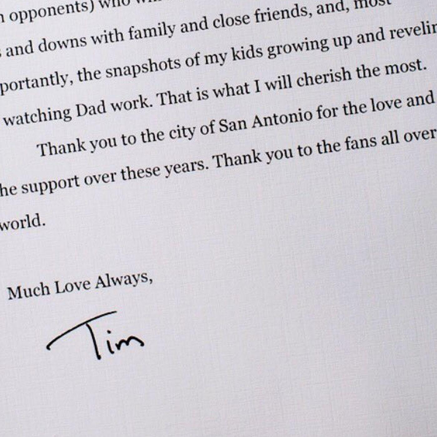 Tim Duncan Wrote A Heartfelt Goodbye Letter To Spurs Fans Sbnation