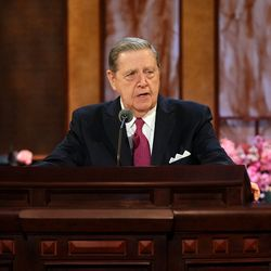 Elder Jeffrey R. Holland, of the Quorum of the Twelve Apostles, speaks during the Saturday afternoon session of The Church of Jesus Christ of Latter-day Saints' 191st Annual General Conference in Salt Lake City on April 3, 2021.