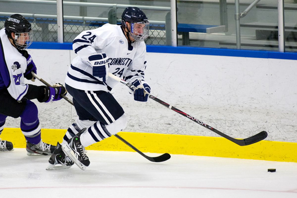 """Cole Schneider left the University of Connecticut this season to sign with the Ottawa Senators. (Photo by Steve Slade/<a href=""""http://today.uconn.edu/blog/2012/01/men%E2%80%99s-ice-hockey-gaining-confidence/"""" target=""""new"""">UConn</a>)"""